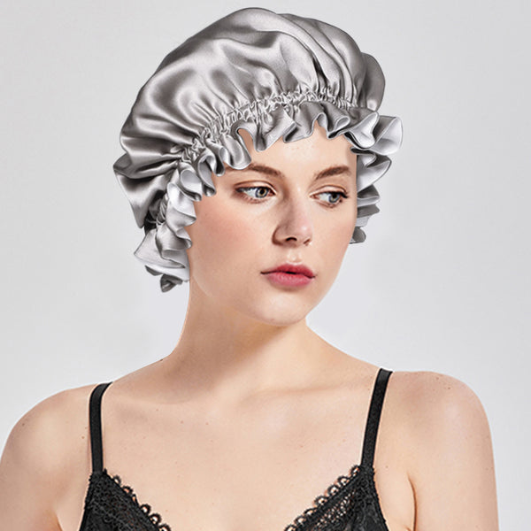 Olesilk 19 Momme Silver Grey Mulberry Silk Sleep Cap Hair Beauty Orgainc Silk Bonnet