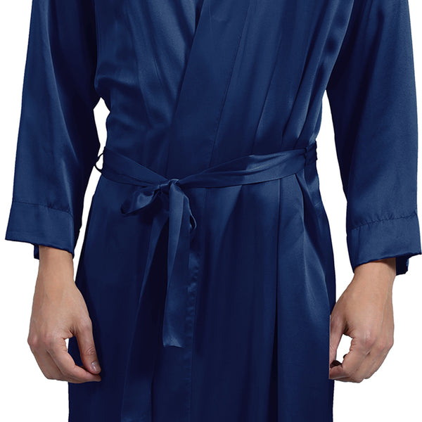 Olesik Men's 19 Momme Silk Dressing Gown with Stand Collar, 100% Pure Mulberry Silk