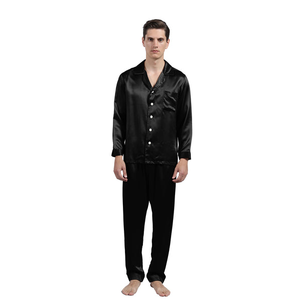 Olesilk Men's Luxurious 22 Momme Silk Pajama Set Long Sleeve Shirt & Pants