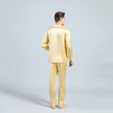 Olesilk Men's 19 Momme Silk Pajama Set Long Sleeve Shirt & Pants