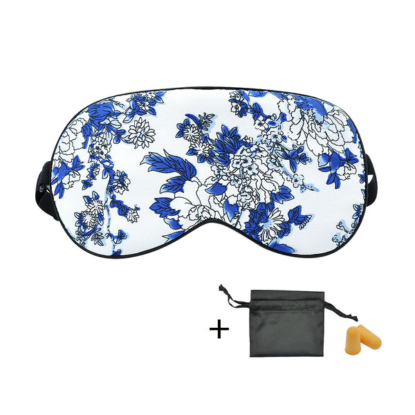 Olesilk Blue Mood Silk Eye Mask Blindfold with Double Layer Silk Filling & Blue and White Printing