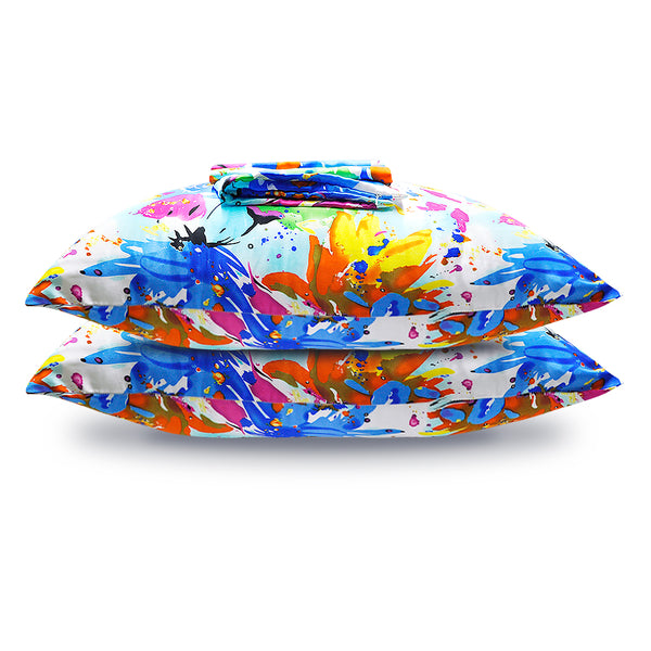 Olesilk Crayon Childhood Printed Silk Pillowcase for Hair and Skin Abstract Colorful Printing with Hidden Zipper