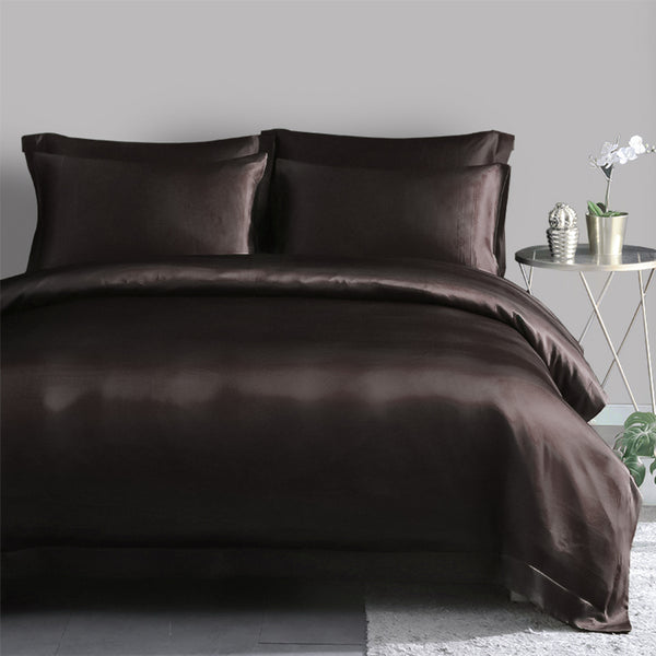 Olesilk 22 Momme 5 Pieces Silk Sheet Set 100% Pure Mulberry Silk Bedding Set ( 1 Duvet Cover + 1 Flat Sheet + 1 Fitted Sheet + 2 Oxford Pillowcases)