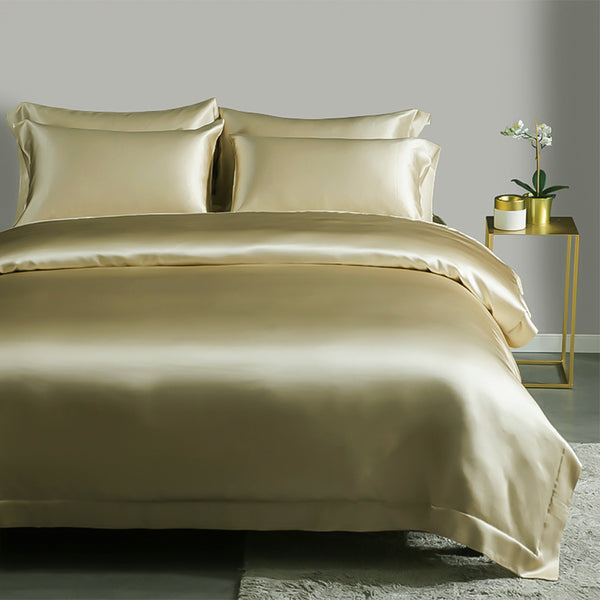 Olesilk 19 Momme 5 Pieces Silk Sheet Set 100% Pure Mulberry Silk Bedding Set ( 1 Duvet Cover + 1 Flat Sheet + 1 Fitted Sheet + 2 Oxford Pillowcases)