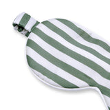 Olesilk Silk Eye Mask Green Stripe Front with Double Layer Silk Filling