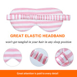 Olesilk Silk Eye Mask Pink Stripe Front with Double Layer Silk Filling