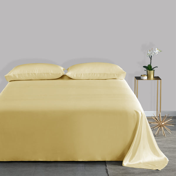 Olesilk 19 Momme 3 Pieces Silk Sheet Set 100% Silk Bedding Set (1 Flat Sheet + 1 Fitted Sheet + 1 Zipper Pillowcase)