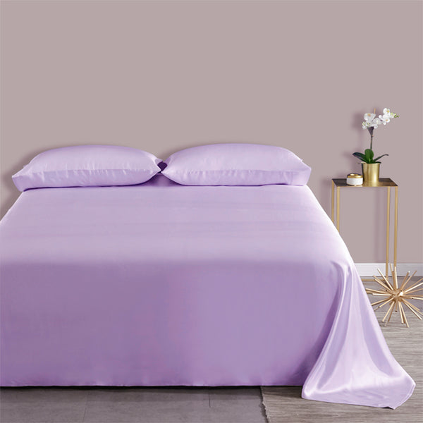 Olesilk 19 Momme 4 Pieces Silk Sheet Set 100% Pure Mulberry Silk Bedding Set (1 Flat Sheet + 1 Fitted Sheet + 2 Zipper Pillowcases)