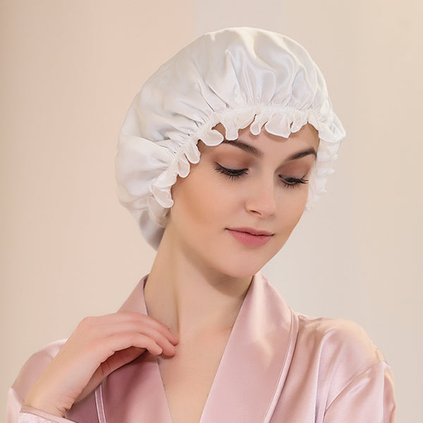 Olesilk 19 Momme White Color Silk Night Cap For Beautiful Hair With Flabala Detailing