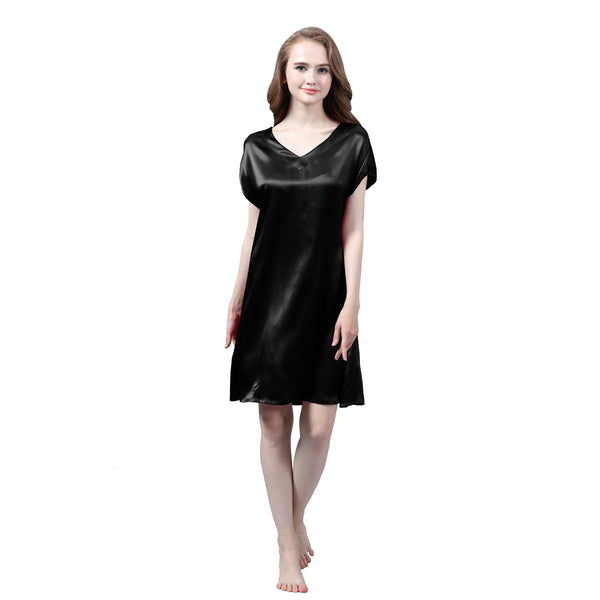 Olesilk Women's 19MM Silk Sleepwear Short Sleeved Silk Nightdress Nightgown