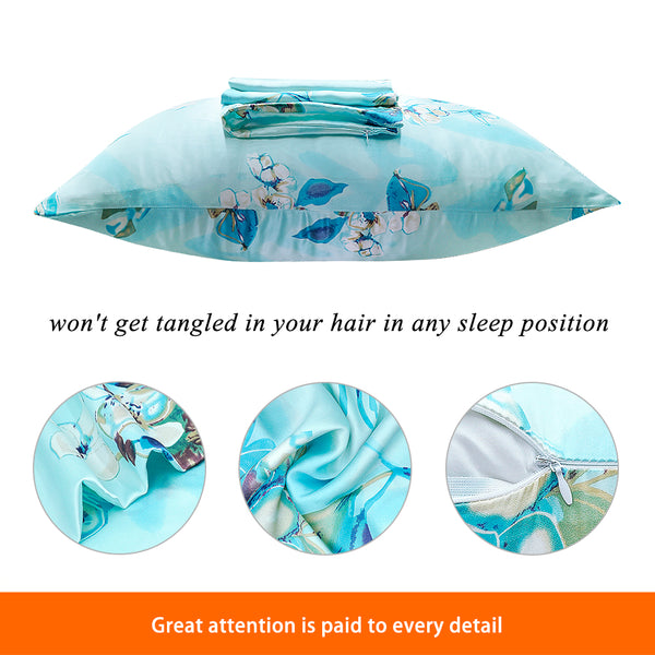 Olesilk Tranquil Garden Printed Silk Pillowcase for Hair and Skin Blue Printing with Hidden Zipper