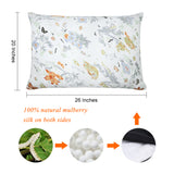Olesilk Spring Story Printed Silk Pillowcase for Hair and Skin with Hidden Zipper With Follower & Butterfly Printing
