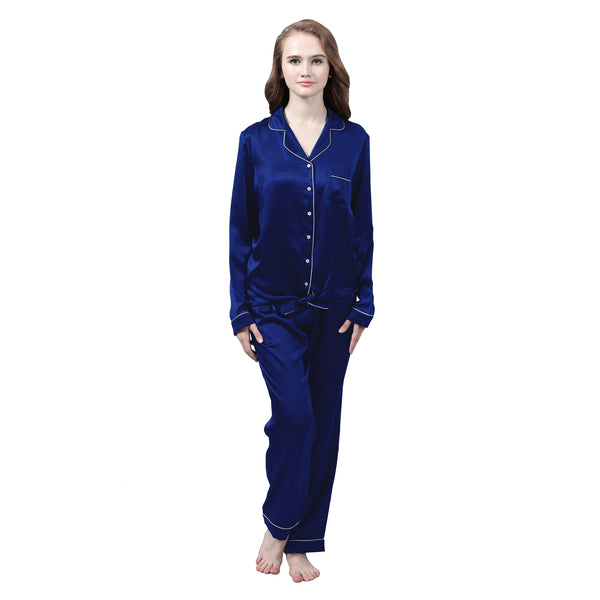 Olesilk Women's 19 Momme Silk Pajama Set Long Sleeve Shirt & Pants With White Piping