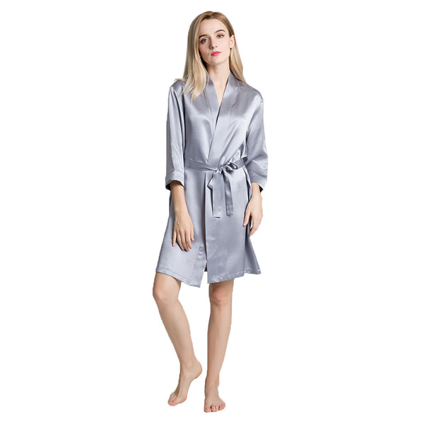 Women's 22 Momme Short 100 Silk Night Robe
