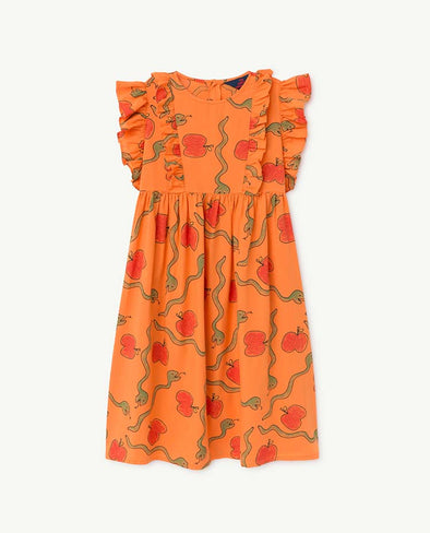 The Animals Observatory Otter Kids Dress (Orange Apples & Snakes) - TA-DA!