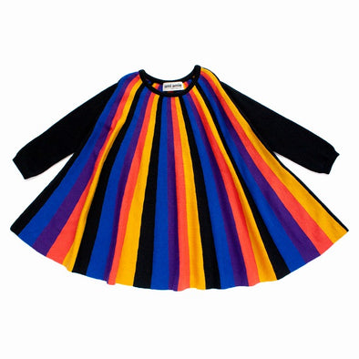 Ami Amie Multi Colour Striped Long Sleeve Dress (Black) - TA-DA!