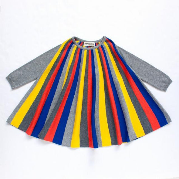 Multi Colour Striped Long Sleeve Dress (Black / Grey)