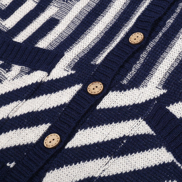 Knit Planet Journey Cardigan (Navy / Cream) - TA-DA!