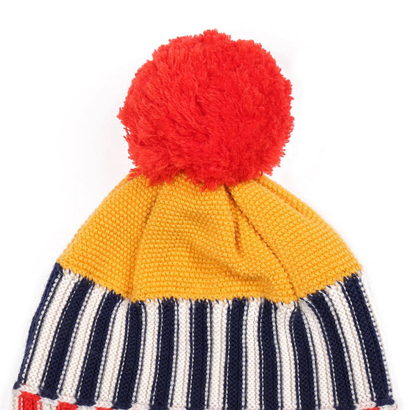 Knit Planet Colourful Beanie (Red+Yellow+Navy / Green+Rose Clay+Navy) - TA-DA!