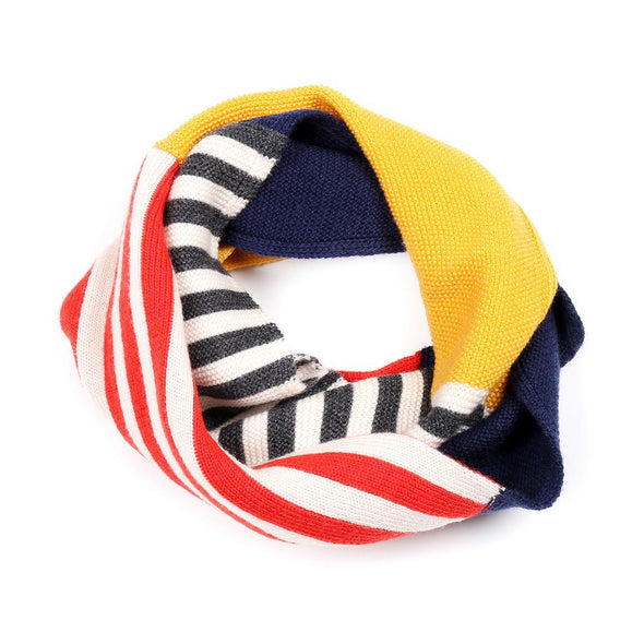 Knit Planet Colourful Snood (Yellow+Grey+Navy / Green+Rose Clay+Navy) - TA-DA!