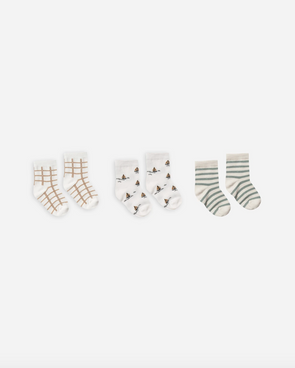 SS20 Printed Ankle Sock Set (Bronze grid + Sailboat + Sea stripe)