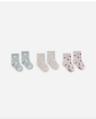 Printed Ankle Sock Set (Daisy + Micro dot + Strawberry)