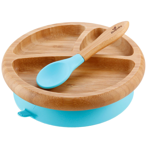 Avanchy Baby Bamboo Stay Put Suction (Baby Divided Plate + Spoon) (Multi Colour) - TA-DA!