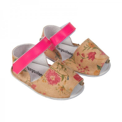 minorquines Frailera Baby Flowered Leather (Caramel) - TA-DA!