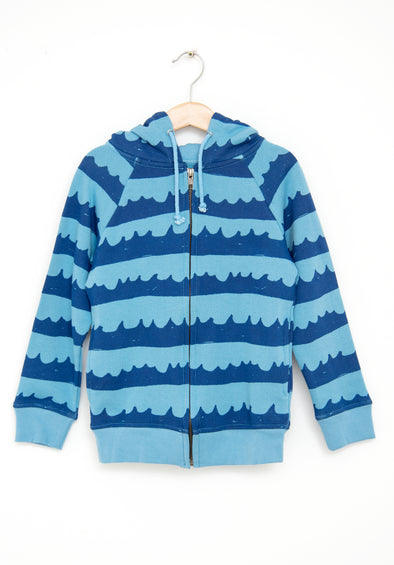 Sea Waves In Blue Hoodie (Light Wave Blue)