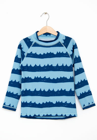 Sea Waves In Blue Swim Shirt (Light Wave Blue)