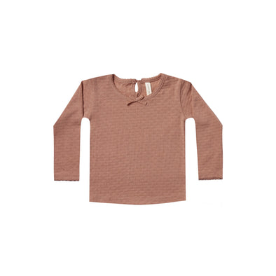 Quincy Mae Pointelle Longsleeve Tee (Clay / Rose) - TA-DA!