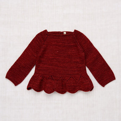 Peplum Pullover (Brick / Hot Red)