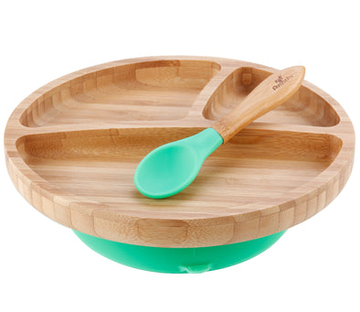 Avanchy Toddler Bamboo Stay Put Suction (Baby Divided Plate + Spoon) - TA-DA!