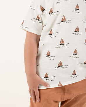 Sailboat Raw Edge Tee (Ivory)