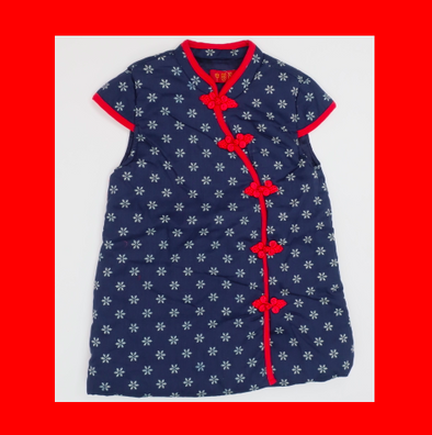 CouCou Chinese Cheongsam Snowflake Dress (碎花短袖中國服)(Blue) - TA-DA!