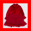 CouCou Chinese Long Sleeve Dress (絲絨夾毛裡打摺網紗長袖中國服)(Red) - TA-DA!