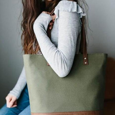 Little Unicorn Boardwalk Tote (Olive / Grey) - TA-DA!