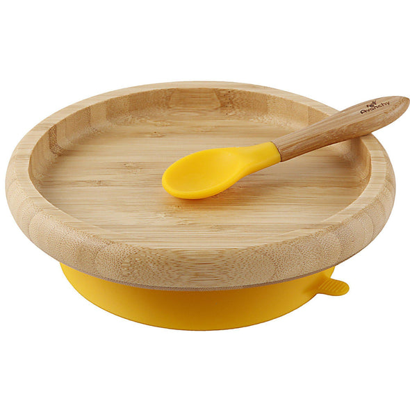 Avanchy Classic Bamboo Stay Put Suction (Plate + Spoon) (Multi Colour) - TA-DA!