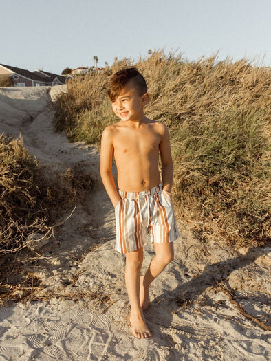 SS2021 Striped Boys Long Swim Trunk in Multi-Stripe (Swim)