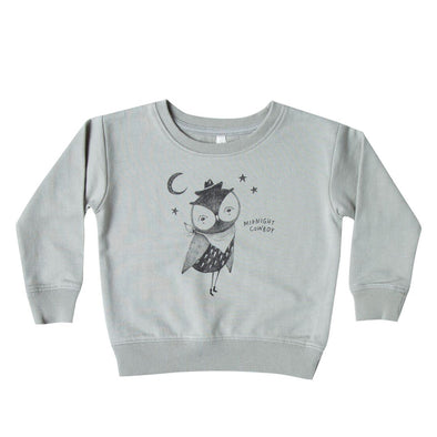 Cowboy owl sweatshirt (washed denim)