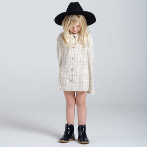Rylee + Cru Check Button Shirt Dress (Vanilla) - TA-DA!