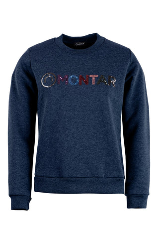 Bertie navy sweat sequin multi logo
