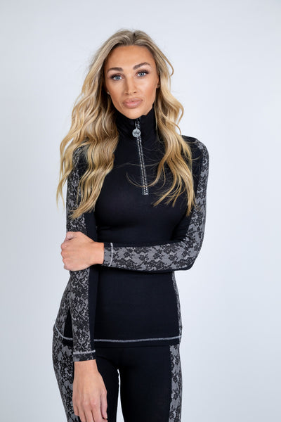 S'No Queen: Doublestriper Zip Polo: Black & Lace