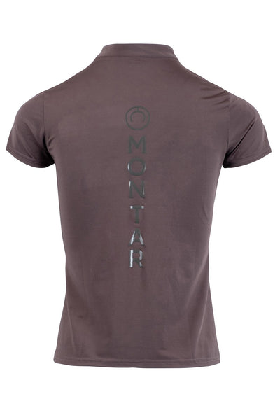 Melanie grey polo logo back vertical