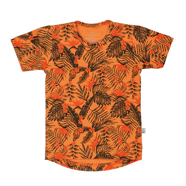 T-Shirt korte mouw peach jungle print dropdown model