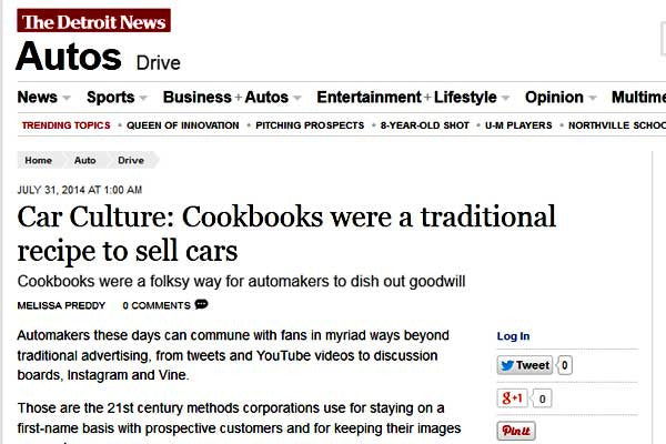 Detroic News Article Car Culture and Cookbooks