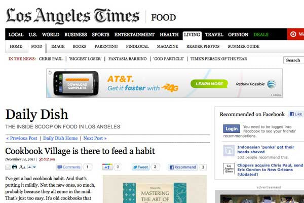 LA Times Food Blog 'Daily Dish' Gives the Inside Scoop on Cookbook Village