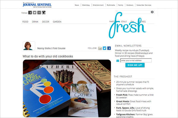 Milwaukee Journal Sentinel Cookbook Article;