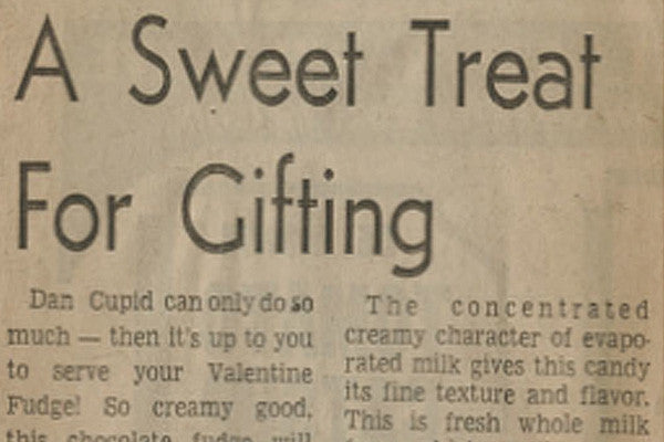 Valentine Fudge Vintage Recipe Clipping
