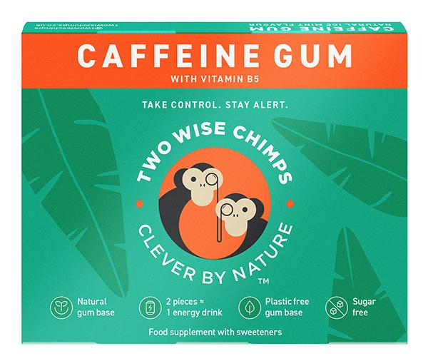 Two Wise Chimps Clever By Nature Caffeine Gum with Vitamin B5